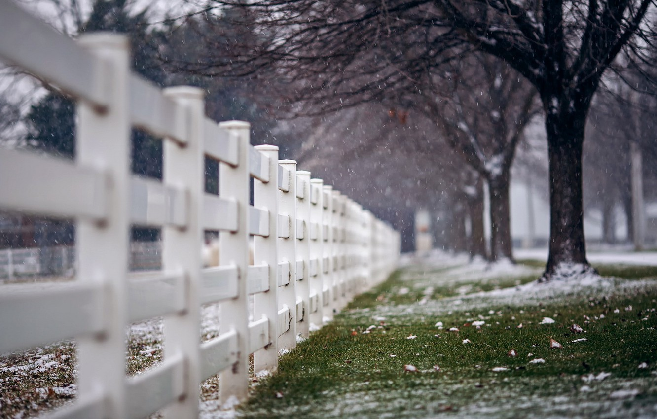 Photo wallpaper snow, the city, street, the fence