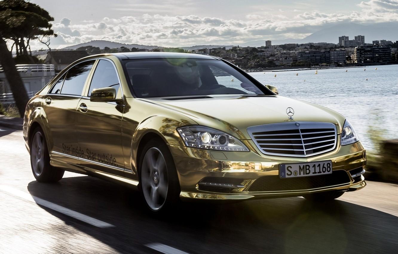Photo wallpaper the sky, Mercedes-Benz, Mercedes, gold, sedan, the front, spec.version, S-Class, Festival de Cannes