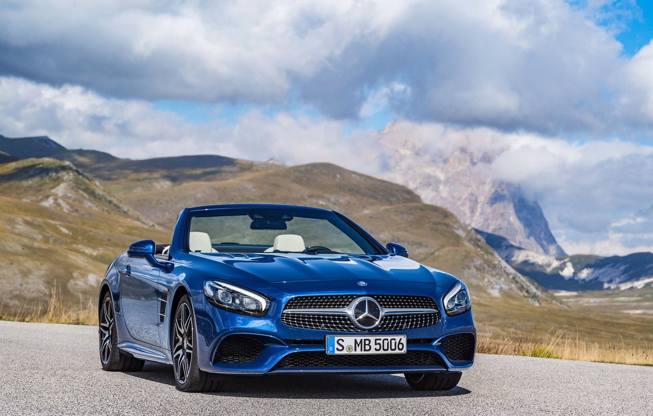 Photo wallpaper the sky, clouds, mountains, blue, Mercedes-Benz, convertible, Mercedes, R231, SL-Class