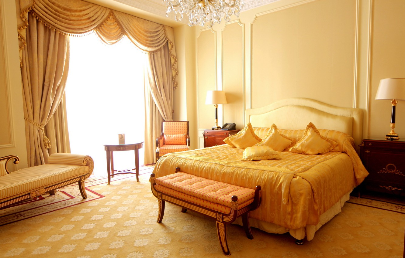 Photo wallpaper design, style, room, sofa, lamp, bed, interior, chair, pillow, yellow, apartment, curtain, bedroom