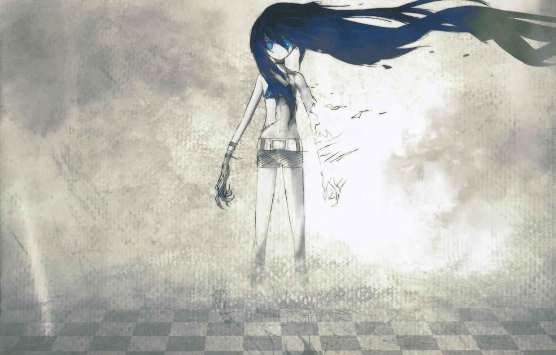 Photo wallpaper girl, hair, shorts, anime, art, scar, Black Rock Shooter, Mato KURO, huke, Insane black rock …