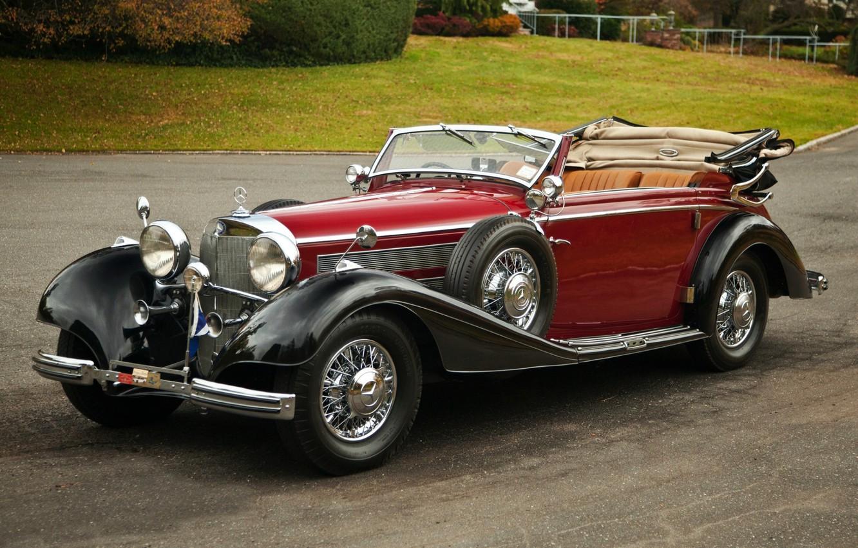Photo wallpaper retro, Mercedes-Benz, convertible, Mercedes, the front, Cabriolet, beautiful car, by Sindelfingen, 540K, 1937