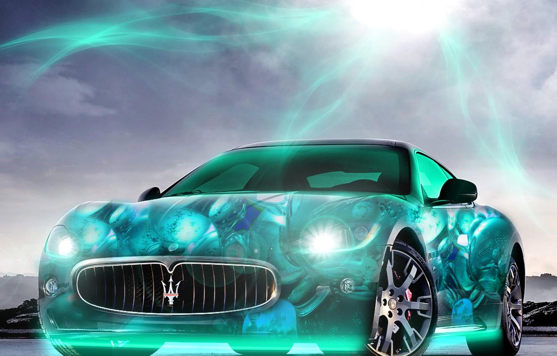 Photo wallpaper the sun, light, lights, Maserati, neon, brightness, 2880x1800, car