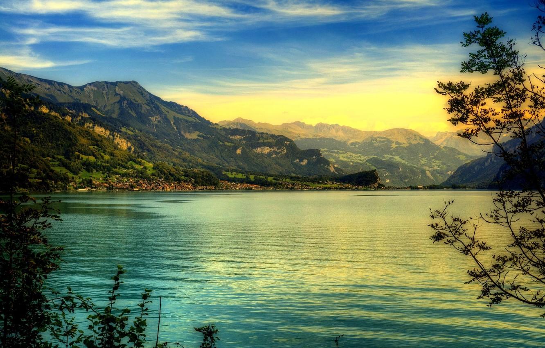 Photo wallpaper mountains, lake, village