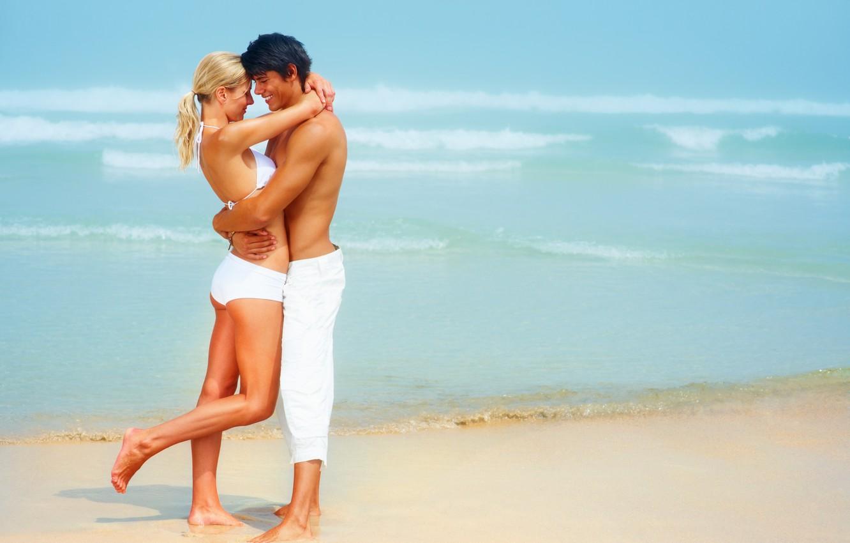 Photo wallpaper sand, sea, wave, beach, swimsuit, summer, girl, joy, smile, pair, surf, guy