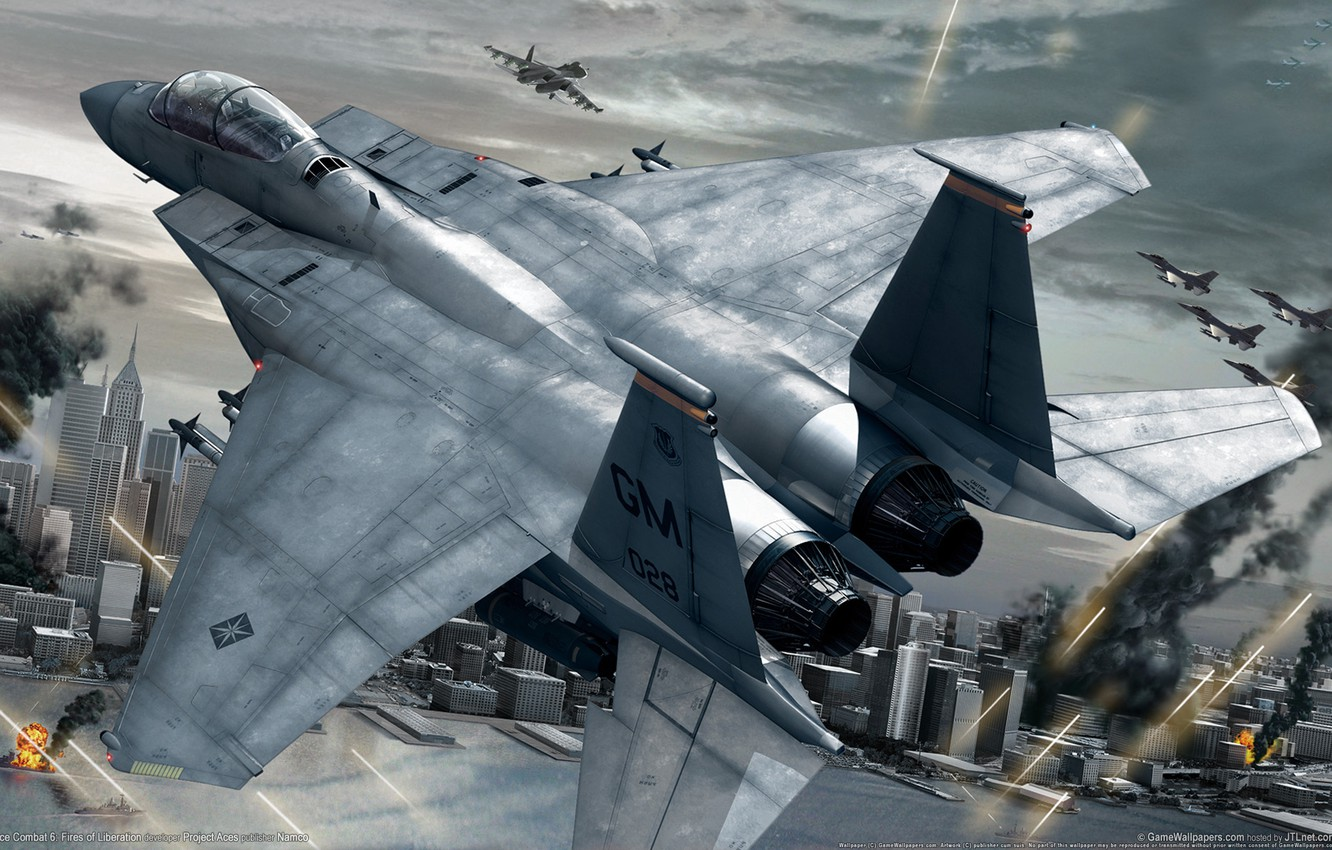 Photo wallpaper the city, the plane, war, fighter, ace combat 6