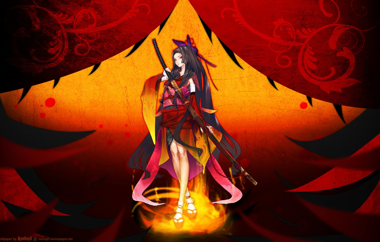 Photo wallpaper girl, weapons, sword, katana, anime, art, redjuice, resheph