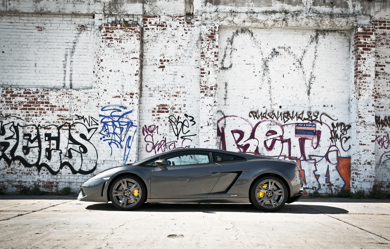 Photo wallpaper grey, wall, profile, gallardo, lamborghini, grey, graffiti, Lamborghini, lp560-4, Gallardo, yellow slides