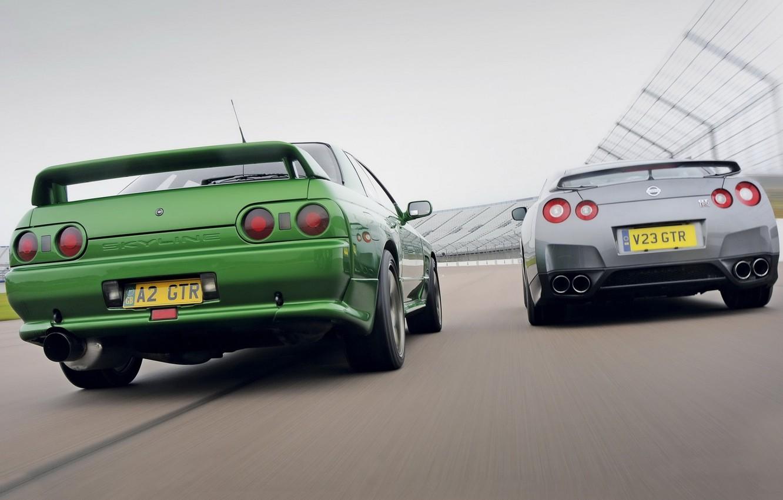 Photo wallpaper background, Nissan, GT-R, rear view, R32, Skyline, R35