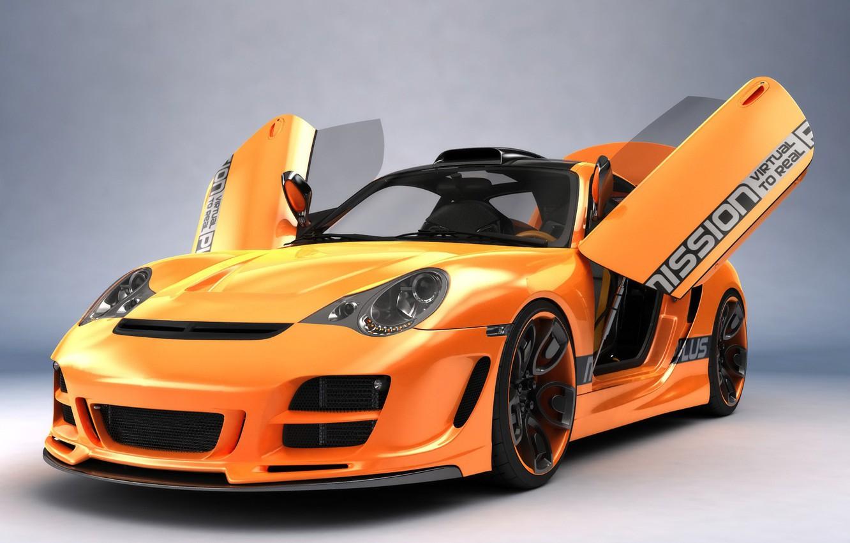 Photo wallpaper Orange, Porsche, Porshe, Art