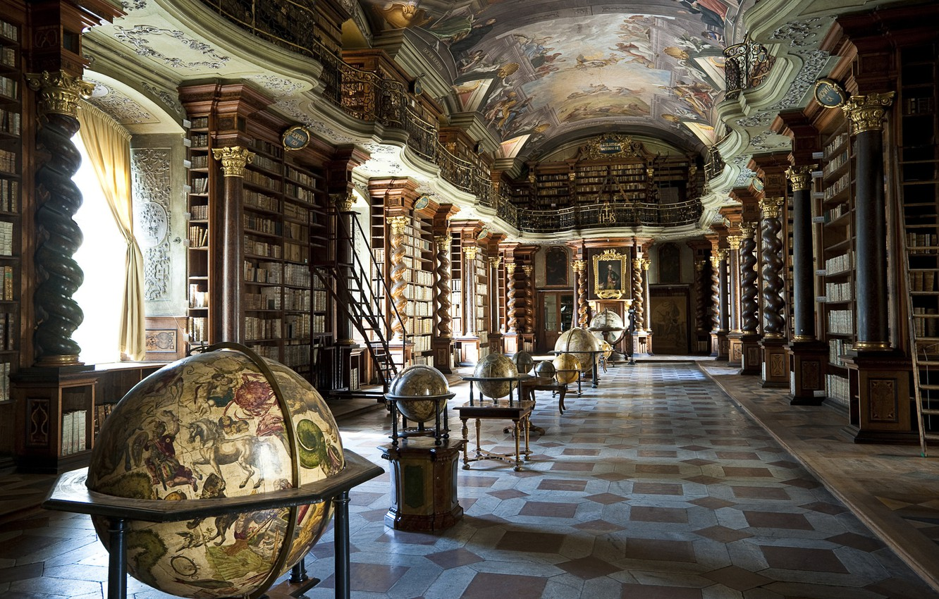 Photo wallpaper books, the ceiling, columns, library, painting, globes, modeling