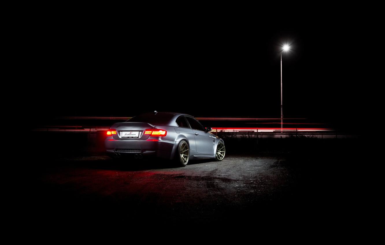 Photo wallpaper night, grey, bmw, BMW, lantern, grey, night, back, e92