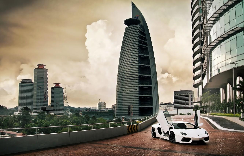 Photo wallpaper the sky, clouds, up, Lamborghini, door, Lamborghini, Malaysia, Lamborghini, LP700-4, Aventador, Aventador, Kuala Lumpur, good