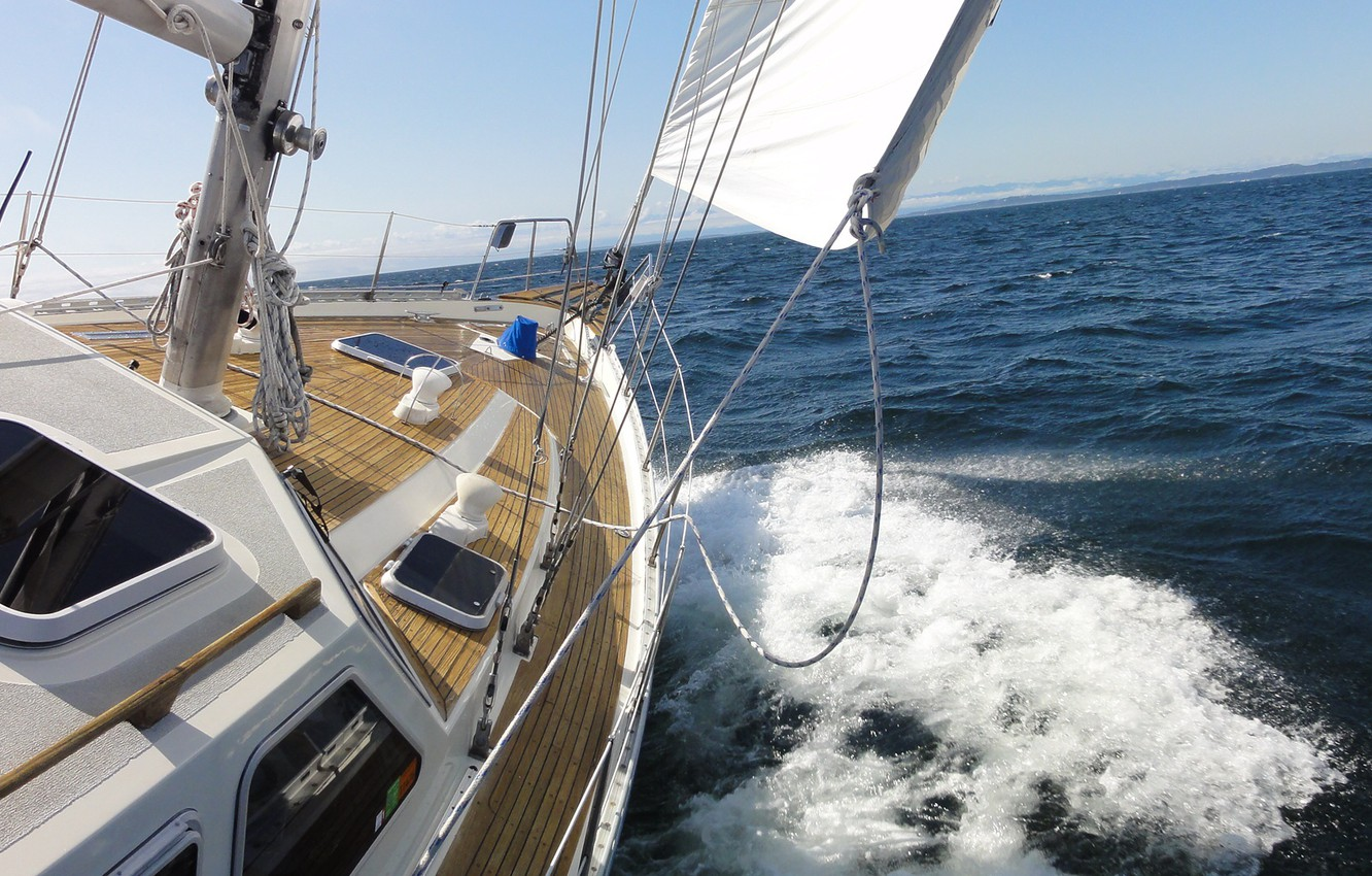 Photo wallpaper sea, the way, the wind, yacht, sail