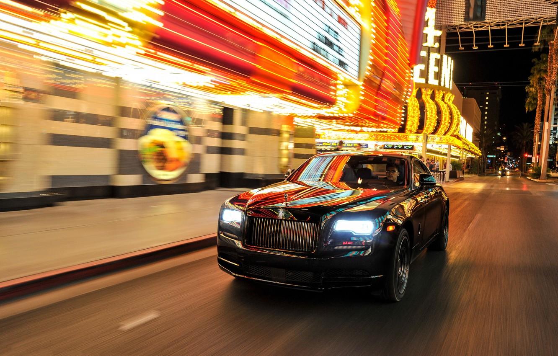 Photo wallpaper car, lights, Rolls-Royce, light, car, the front, street, rolls-Royce, Wraith, Black Badge