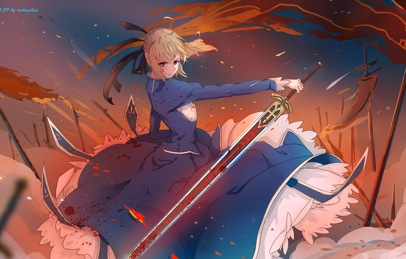 Photo wallpaper girl, weapons, blood, sword, anime, art, flags, saber, fate stay night, xi chen chen