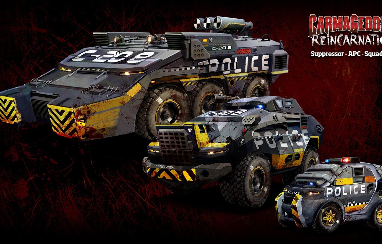Photo wallpaper The game, Game, Cars, Carmageddon Reincarnation, APC, Suppressor, Squad Car
