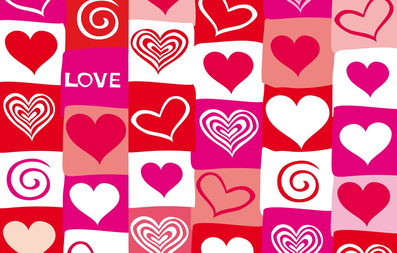 Photo wallpaper vector, hearts, red, love, pink, hearts, valentine