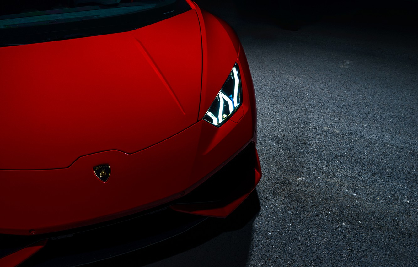 Photo wallpaper Lamborghini, Red, V10, Supercar, Exotic, Huracan, Ligth, LP640-4