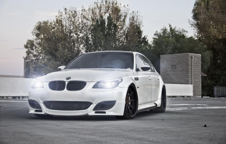 Photo wallpaper white, light, trees, lights, bmw, BMW, white, e60