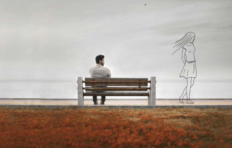 Photo wallpaper girl, memories, silhouette, guy, bench, Memory