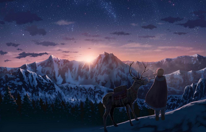 Photo wallpaper the sky, girl, the sun, stars, clouds, sunset, mountains, nature, anime, deer, art, horns, nauimusuka