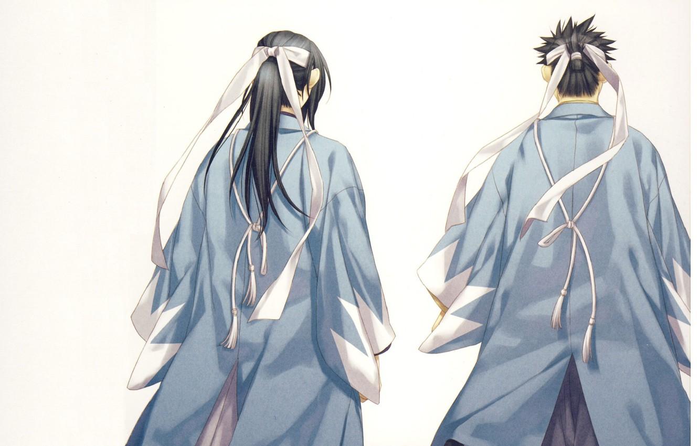 Photo wallpaper samurai, tape, Japanese clothing, Demons pale cherry, Hakuouki Shinsengumi Kitano, Hijikata Toushirou, from the back, …
