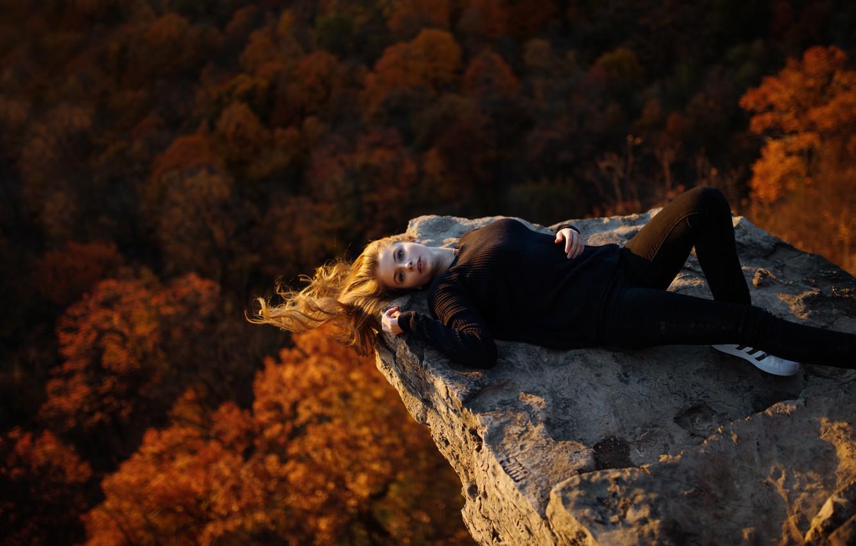 Photo wallpaper autumn, stone, height, Angelica, Jesse Duke