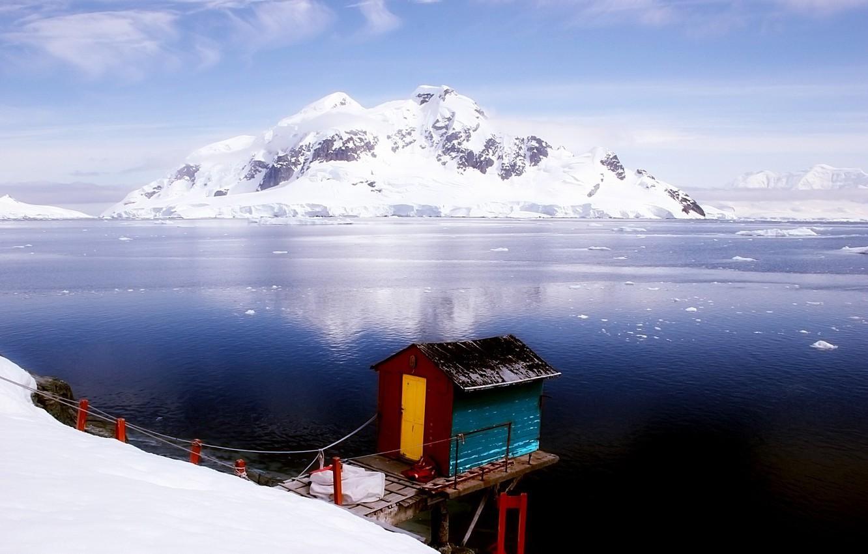Photo wallpaper snow, Mountains, house