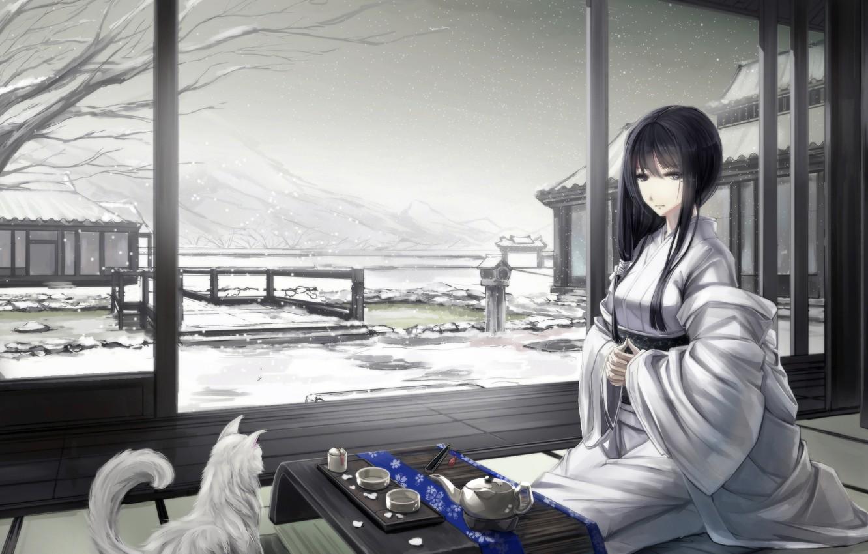 Photo wallpaper winter, cat, girl, snow, mountains, house, art, the tea party, kimono, sitting, kikivi