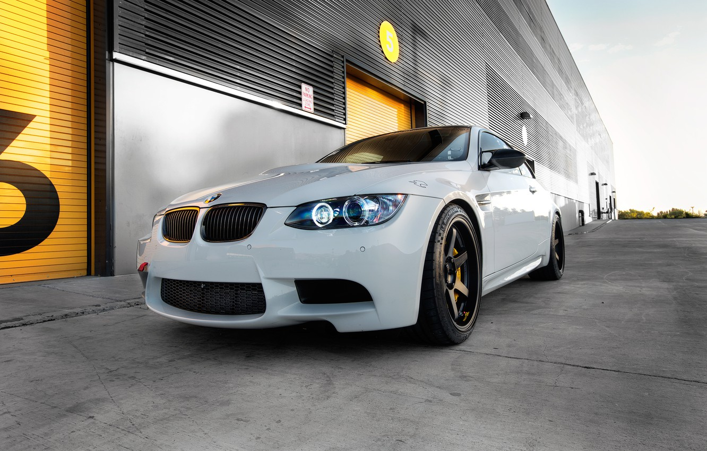 Photo wallpaper white, black, bmw, BMW, white, wheels, drives, e92, daylight, wolf racing, volk racing
