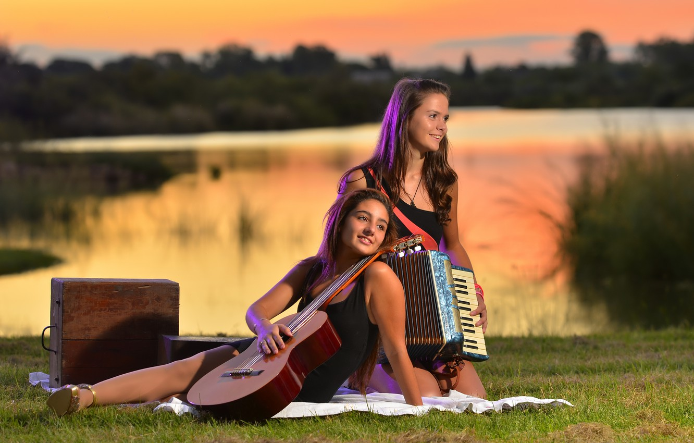 Photo wallpaper music, girls, mood, guitar