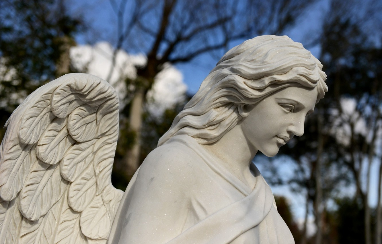 Photo wallpaper wings, angel, statue, sculpture
