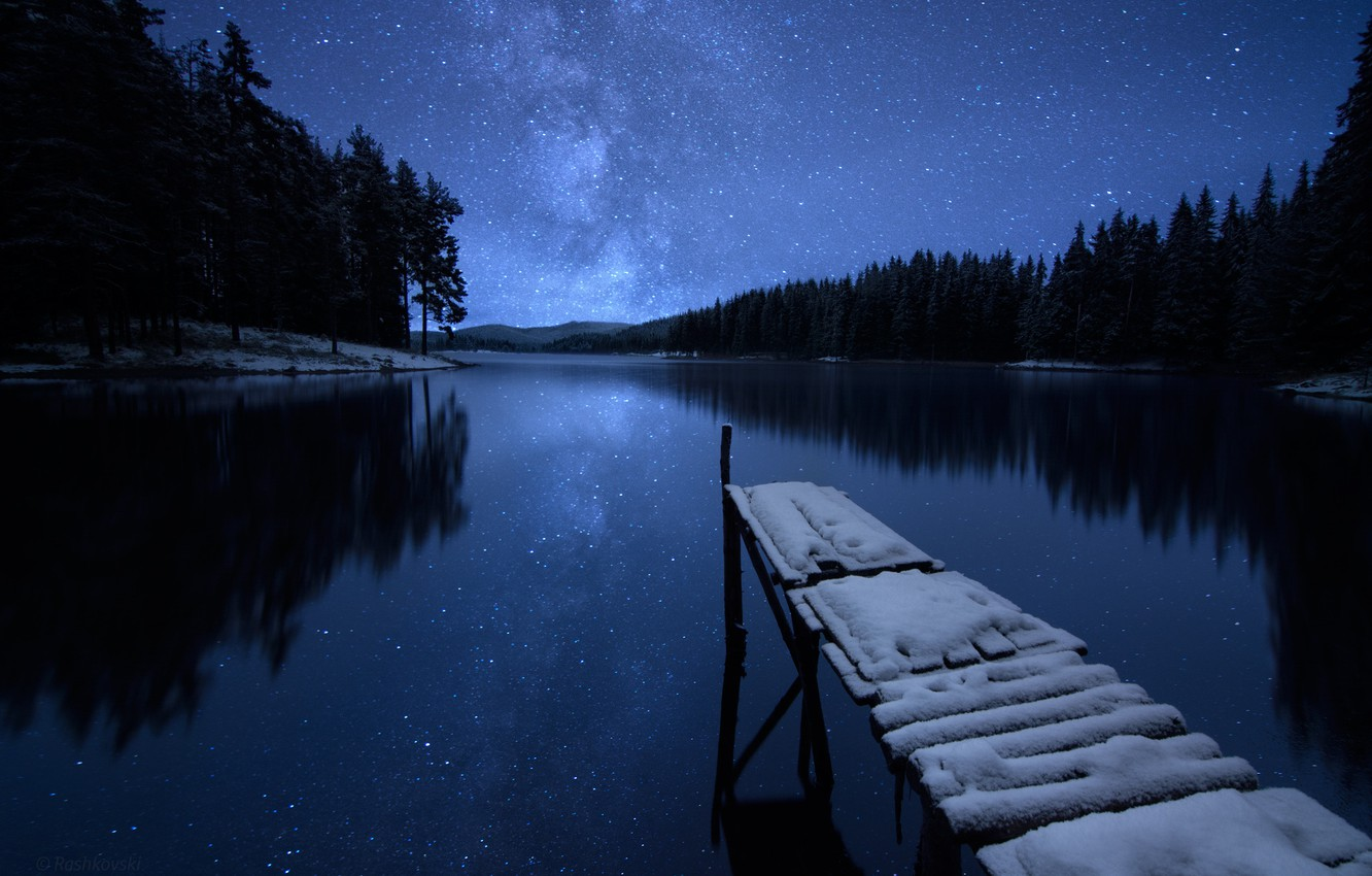 Photo wallpaper winter, forest, the sky, stars, snow, trees, night, river, shore, pier