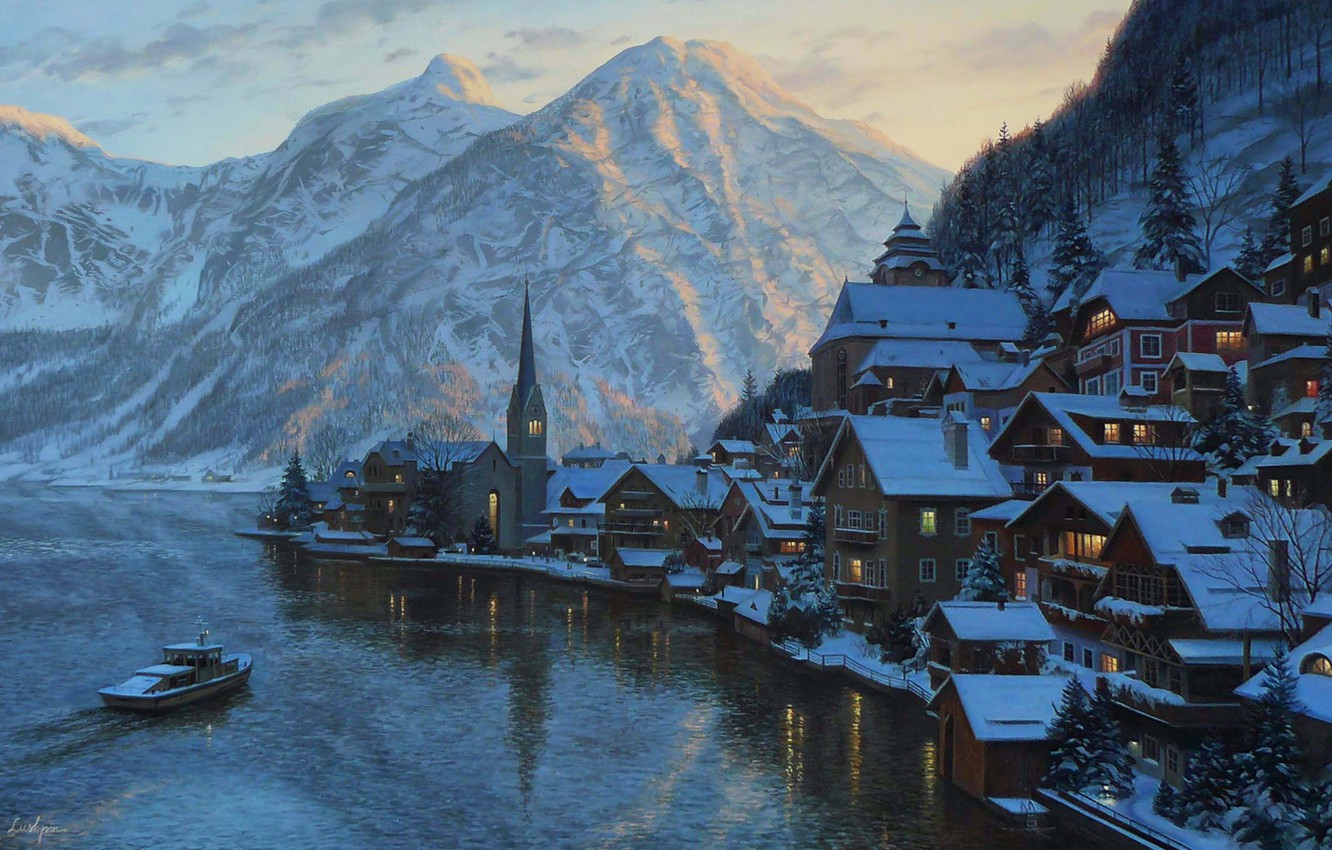 Photo wallpaper winter, snow, landscape, sunset, mountains, lake, mountain, home, the evening, Austria, ate, Alps, boat, painting, …