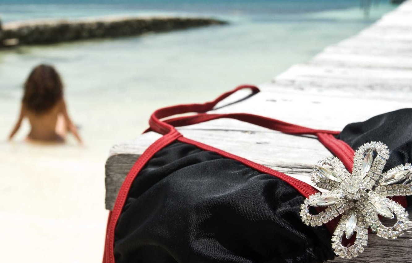 Photo wallpaper stay, Sea, Girl, Swimsuit, Decoration