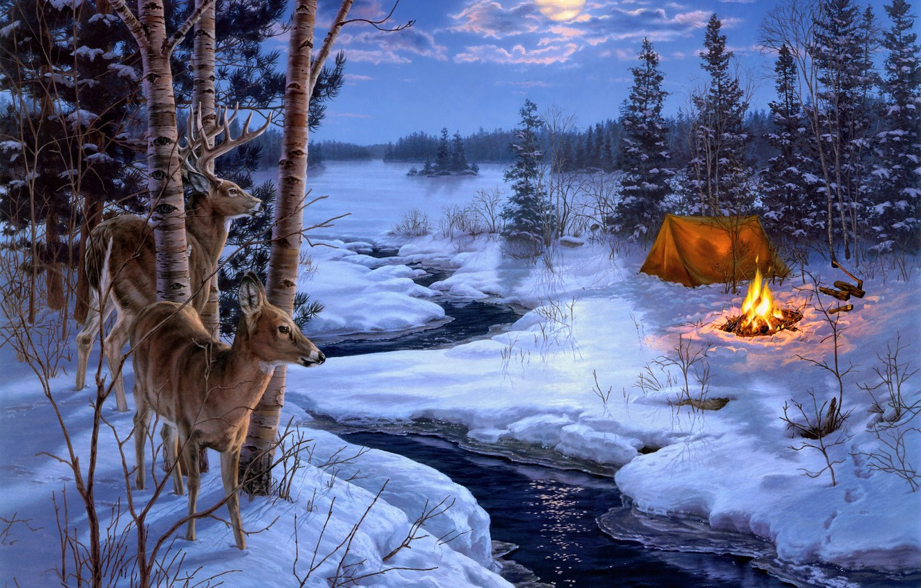 Photo wallpaper winter, animals, snow, stream, fire, the moon, spruce, the fire, tent, axe, painting, deer, Darrell …