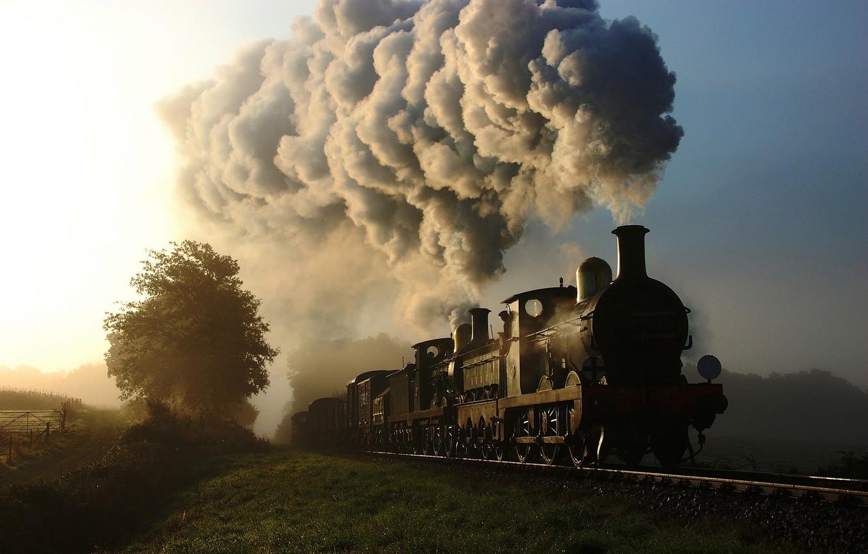 Photo wallpaper nature, smoke, train, the engine, cars, railroad