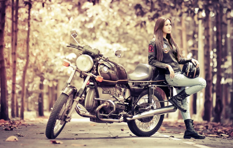 Photo wallpaper girl, BMW, motorcycle