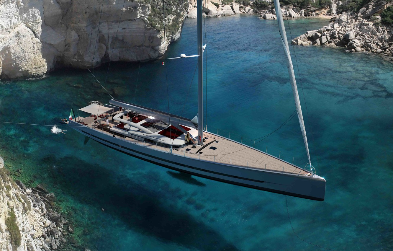 Photo wallpaper sea, Bay, yacht, superyacht, New-Admiral