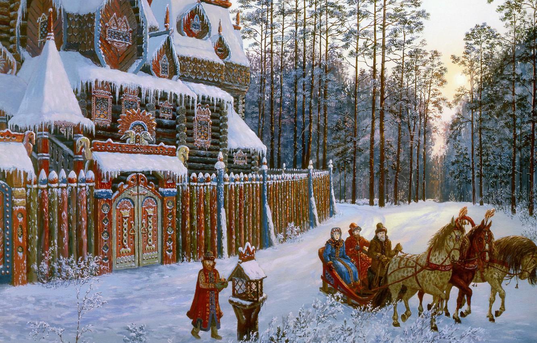 Photo wallpaper winter, forest, snow, house, pine, twilight, Vsevolod Ivanov, Russian folklore, Russian architecture, three horses, On …