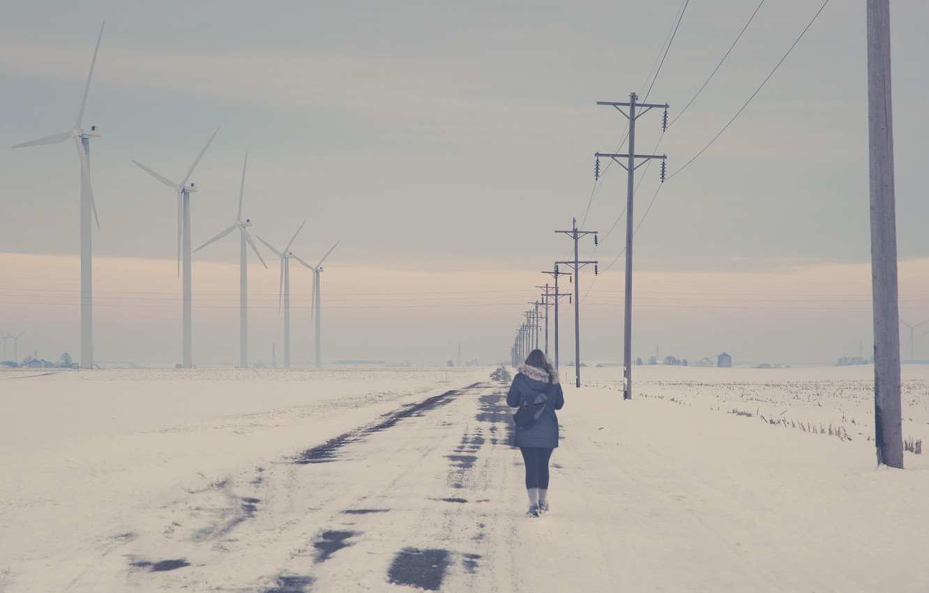 Photo wallpaper road, girl, back, power lines, wind turbine, walking, winter snow