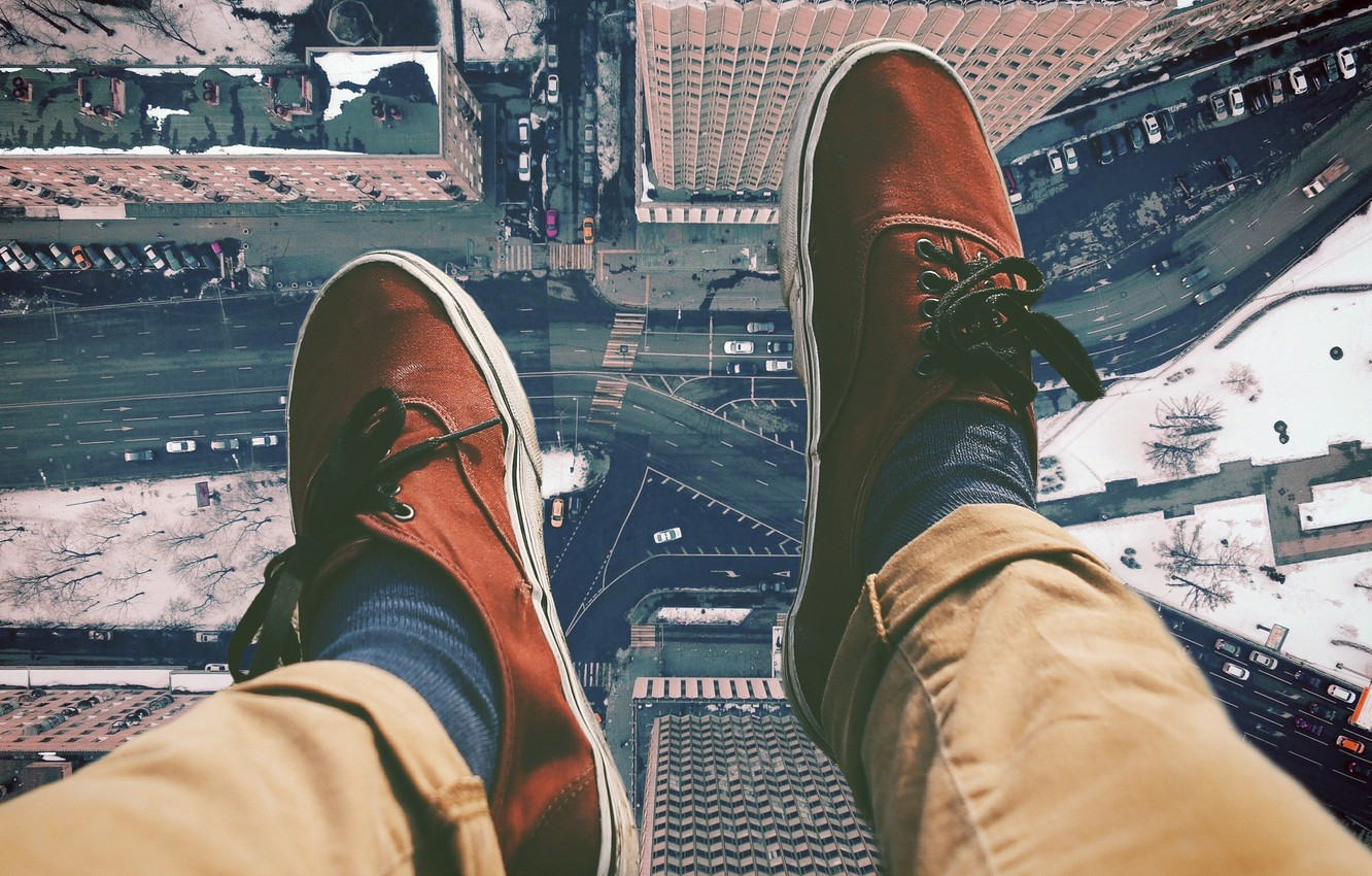 Photo wallpaper road, the city, feet, height, sneakers, home, the view from the top, street
