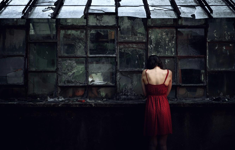 Photo wallpaper girl, Windows, dress, glass, Destruction