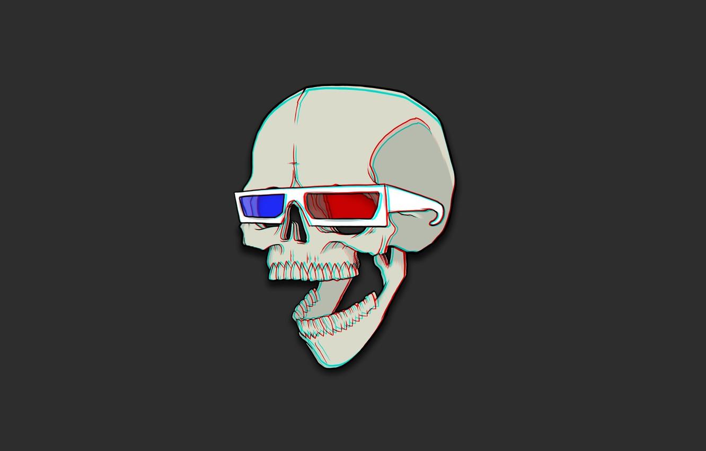 Photo wallpaper Red, Blue, Skull, Humor, Black, Red, Art, Art, Blue, Black, Sake, The Wallpapers, Desktop Wallpaper, …
