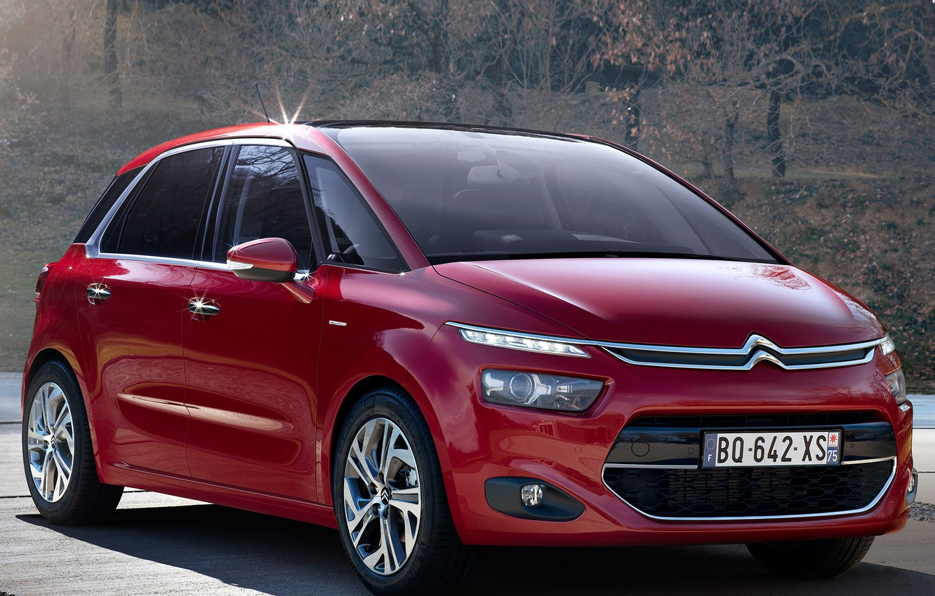 Photo wallpaper machine, red, Citroen, the front, Picasso