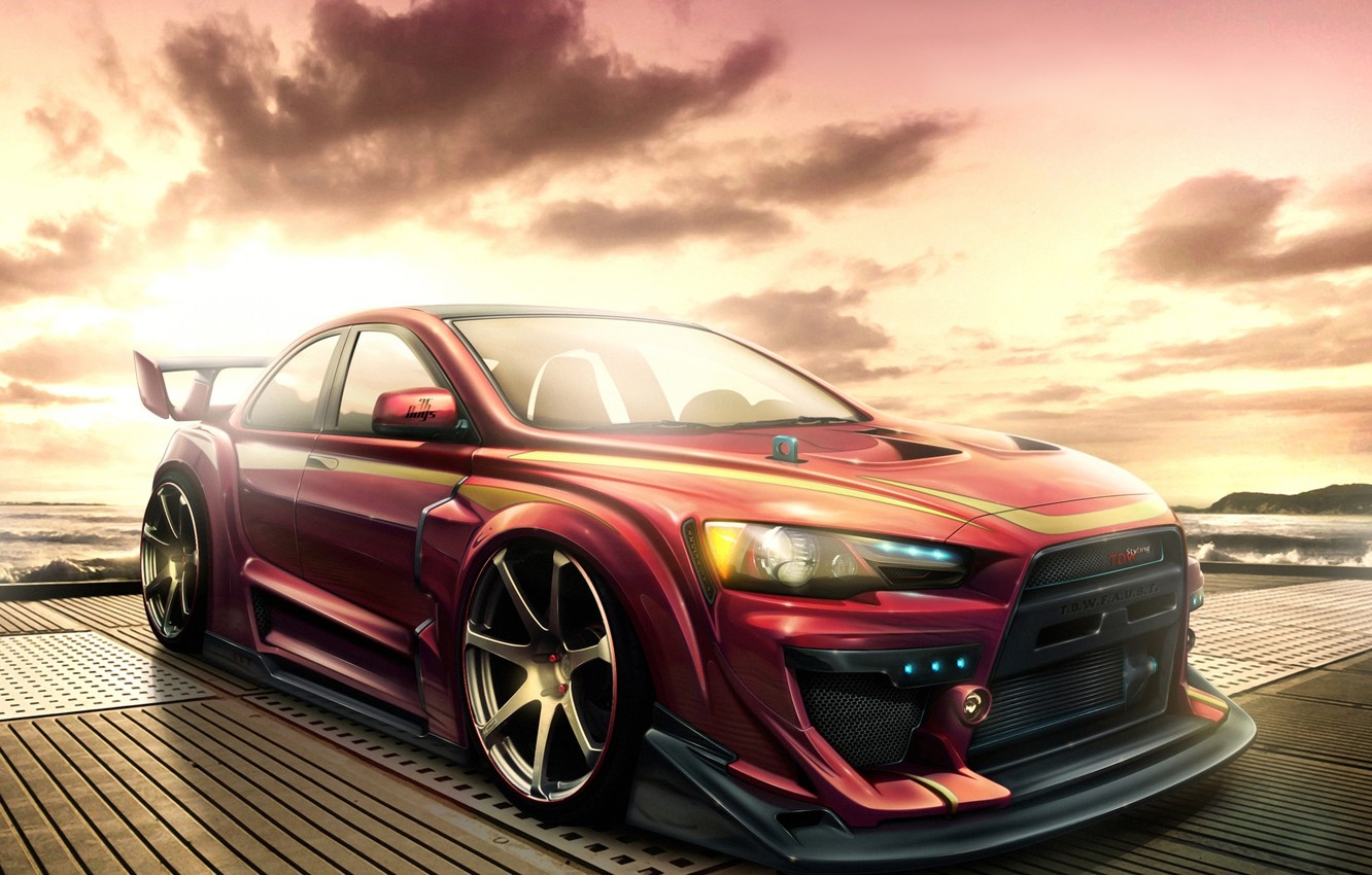 Photo wallpaper Mitsubishi, Lancer, Mitsubishi, X, Evolushn, Lancer, EVO X