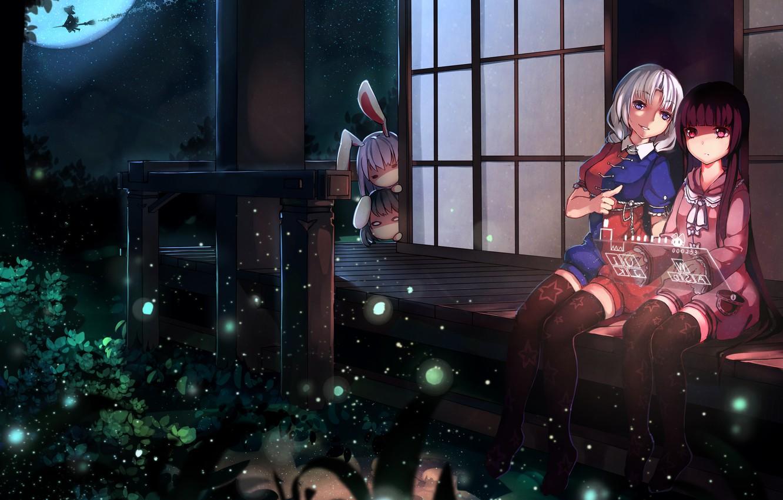 Photo wallpaper the sky, grass, stars, light, night, girls, the moon, stockings, legs, touhou, kirisame marisa, inaba …