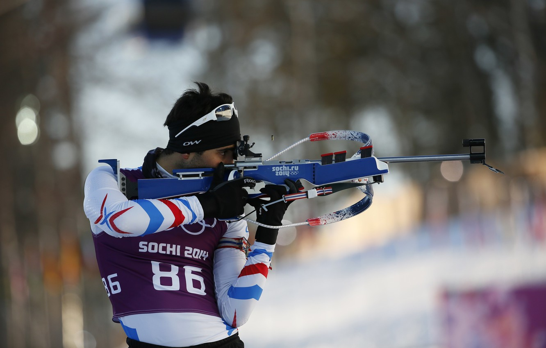 Photo wallpaper France, biathlon, Sochi 2014, The XXII Winter Olympic Games, Martin Fourcade