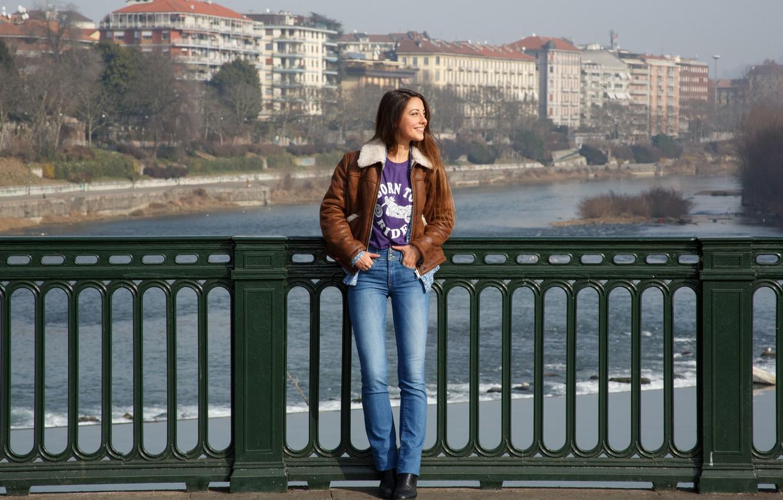 Photo wallpaper girl, jeans, brunette, jacket, Lorena, Lorena Garcia, fun, on the bridge